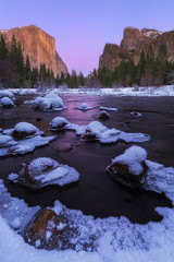 Afterglow at The Gates (D Breezy - davidthompsonphotography.com) Tags: winter vacation snow cold ice twilight yosemitenationalpark valleyview afterglow mercedriver thepowerofnow