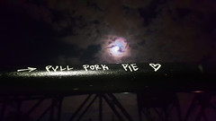 Pull Pork Pie [sic] (Exile on Ontario St) Tags: montreal graffiti written words ramp pont bridge montral marker nuit lune moon nonsense food nourriture nightshot canaldelachine canallachine lachinecanal parc parks sky ciel nuages nuage cloud clouds weather night nighttime hungry hunger pulledporkpie pullporkpie pulledpork pullpork pulled pork pie porkpie pull meat viande meatpie ptlaviande pt ptviande porc arrow heart griffintown