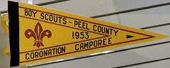 Coronation Scout Camp souvenir pennant (Will S.) Tags: mypics museum archives peelcountyjail brampton ontario canada oldbuildings oldarchitecture peelcounty heritage history peelregion coronation souvenir qeii qe2 queenelizabethii queenelizabeth hermajesty thequeen