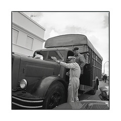 this way  bel air, burgundy  2016 (lem's) Tags: station service gas attendant pompiste camion berliet truck vintage nationale 6 n6 bel air burgundy bourgogne hasselblad 500cm