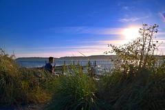 Summer Treat (~~J) Tags: seascape pugetsound seagrass boy icecream sunset pier blue green sun summer youth daydream august