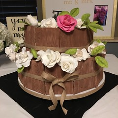 Rustic Bridal Shower Cake (bumacm) Tags: wood roses rustic petaldust gumpaste cake