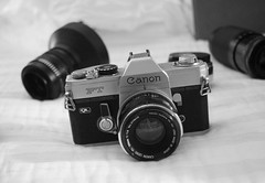 Camera On The Bed (rolandmks7) Tags: camera lens canon canonft access 2870 blackandwhite bw monochrome