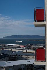 Flat with a view (sigfus.sigmundsson) Tags: reykjavik view apartment ocean container ship sailing balcony red