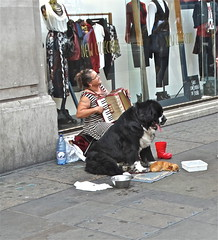 'Twins' - The Canine Re-Make (Deepgreen2009) Tags: dog huge tiny twins film remake busker begging contrast animal pet st bernard chihuahua little large pair sweet street life pavement canine