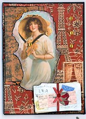 2GwArtParisATC (gwillisinc) Tags: swapbot gwillisinc atc paris red gold postcard fall