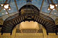 Curves and lace (Tiigra) Tags: chicago illinois unitedstates us 2015 architdetail architecture ceiling glass interior lantern lattice ornament shape spiral stairs