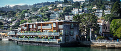 F3402E7 - The Inn Above Tide in Salsaulito (Bob f1.4) Tags: yellow the inn above tide hotel sausalito ca california water waterfront seen from san francisco ferry lightroom merge panorama feature