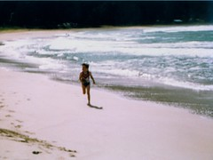 Mandy Running on the Beach - c1983 (kimstrezz) Tags: 1983 familytriptohawaiic1983 hanaleibay kauai mandy