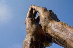 Toward the Light (brev99) Tags: sigma185028hsm oralrobertsuniversity prayinghands tulsa oru d7100 topazdetail topazdenoise bluesky moon statue