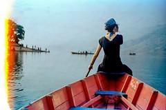 Row the Boat (hiphopmilk) Tags: film analog analogue 135film 35mm kodak yashica yashicaj jaredyeh hiphopmilk nepal pokhara kaski gandaki phewa lake tal fewa sarangkot kaskikot boat ship canoe sail water girl burn row paddle