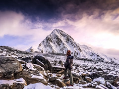 My guide posing with Mount Pumori.#basecamp #beautiful #everest #guide #hike #himalaya #iPhone #iPhoneOnly #kalapathar #man #morning #Mountains #nepal #Pumori #purple #snow #stones #trekking #view (rammahajan7) Tags: my guide posing with mount pumoribasecamp beautiful everest hike himalaya iphone iphoneonly kalapathar man morning mountains nepal pumori purple snow stones trekking view