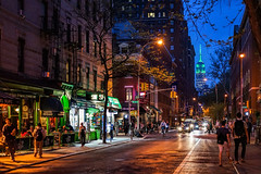 Summer Nights In The City (Jeffrey Friedkin) Tags: architecture buildings city cityscene downtown evening empirestatebuilding esp greenwichvillage lights green manhattan newyork newyorkphoto nyc newyorkscene street streetscene
