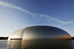 Gran Teatro Nazionale (Tommaso Petruzzi ) Tags: china trip travel blue sunset sky sun lake building water colors architecture lago teatro grande nikon opera asia arte theatre beijing sigma communism cielo cupola oriente sole acqua azzurro viaggio architettura cina moderno comunismo comunista riflesso partito pechino tondo