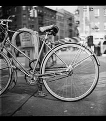 A Bike (Ryan M Long Photography) Tags: new york nyc ny tlr rolleiflex lens reflex kodak manhattan twin hc110 400 medium format mf edu ultra f28 schneider arista xenotar 28e
