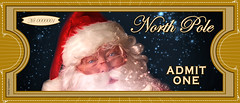 """North Pole """"ADMIT ONE"""" Ticket (KSE Graphics) Tags: santa christmas blue red green train movie tickets one track cut north tracks free trains pole express poles merry polar claus clause admit printable diecut"""