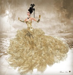 "DESIR ""STARLINE"" (Shena Neox VERSUS Owner) Tags: fashion gold dress modeling embroidery silk sl secondlife gown hautecouture shena starline shenaneox vivienemerald"
