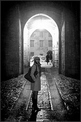 Can I take a picture? (M Luca) Tags: winter light bw cold night gate bn porta wait inverno freddo notte luce aspettare bnbw
