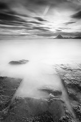 Isla del Fraile (Antonio Carrillo (Ancalop)) Tags: longexposure sunset sea blackandwhite bw espaa costa white seascape black blancoynegro beach water clouds mari