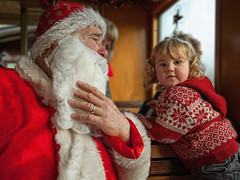 Meeting Father Christmas (Natasha Bridges) Tags: boy wales train oak toddler child son steam monsoon fatherchristmas llanfair santaexpress welshpoolllanfairlightrailway