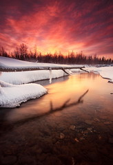 Fire & Ice (Wolfhorn) Tags: winter sunset snow cold ice nature alaska river landscape wilderness