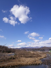 Cloudscapes #133 (tt64jp) Tags: blue winter sky cloud white mountain nature weather japan river wolke  nuage      nube   gunma   kiryu   mtakagi   thewataraseriver