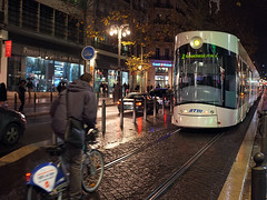 Chasing the tramway (polbar) Tags: france bicycle la marseille pom cyclist nightshot tramway streetshot canebire