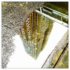 Looking Down At The Empire State Building (street level) Tags: nyc newyorkcity reflection puddle empirestatebuilding iphone