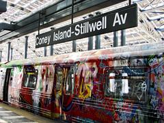 Coney Island Station (grace.aries) Tags: city usa newyork station america subway coneyisland graffiti trains stillwell