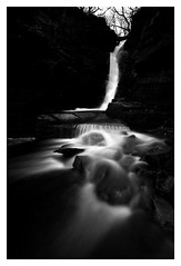Darkness Falls (A-D-Jones) Tags: white black fall water flow mono key rocks stream low chorley rivington bolton tigers clough horwich