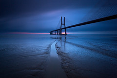 B L U E (CResende) Tags: city longexposure bridge blue sun color portugal broken sunrise river path lisboa tejo happynewyear pontevascodagama pvg parqueexpo cresende