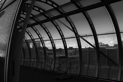Time to cross over (and the moon rose) Tags: city bridge urban blackandwhite london architecture poplar dlr poplardlrstation dlrstation