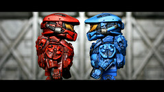 Red vs. Blue - Game on! (Geoshift) Tags: lego 4 halo spartan brickarms halo4 customminifig legohalo legocustomminifig brickaffliction