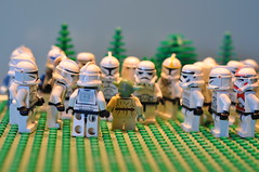 """the halftime address from the wise old coach rang out to his players... """"now get out there and show them what your made of you must"""" (pearce71) Tags: trooper coach yoda lego stormtrooper afl clonetrooper legoaday"""