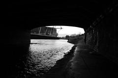 Know the way (Gareth Priest) Tags: city uk bridge light shadow bw inspiration reflection art water wales river dark landscape nikon experimental riverside path creative cardiff gritty eerie trail dull millenniumstadium grimey rivertaff d5100