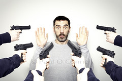 It wasn't me... (Paul O' Connell) Tags: ireland dublin man male funny humor police humour crime freeze guns robbery drama bizarre arrest holdup armedpolice stickemup handguns pauloconnell