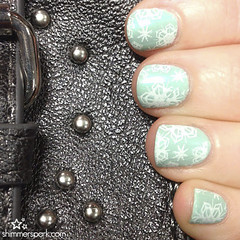 New Year Snowflakes (shimmerspark) Tags: new blue winter white green snowflakes swatch aqua shimmery year mint stamping nailpolish nailart layering greenblue chinaglaze konad piggypolish tictactoes fauxnad refreshmint bundlemonster specialwhite bm323