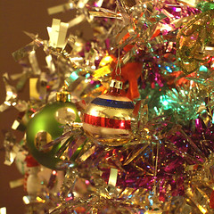 Tinsel Tipped (obsequies) Tags: bear christmas xmas winter decorations tree vintage silver happy lights snowman whimsy holidays shiny bright bokeh balls style retro ornaments tinsel decor whimsical brite