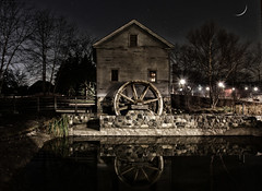 Mill (Notkalvin) Tags: christmas winter moon cold reflection composite night dark michigan crescentmoon dearborn brrrrrrrrrr holidaynights actualmoon notkalvin greenfieldvillaage fromthesamenight