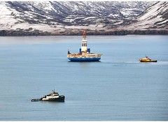 Towing of Kulluk to safe harbor in Kiliuda Bay (KullukResponse) Tags: coastguard alaska shell vessel arctic rig tow kodiak kulluk salvagecrew