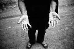 otherland (SimonSawSunlight) Tags: white black film work 35mm photography hands head documentary rangefinder m analogue dust demolished hold rubble sortof otherland
