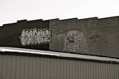 Winky//Kater. (Urban Camper.) Tags: roof white black brick art rooftop minnesota st monster wall paul graffiti paint top character tag cities minneapolis twin aerosol kater winky throwy