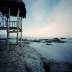pinhole 961, ocean (kudaphoto) Tags: ocean morning film beach water analog landscape mexico rocks pacific pinhole silence fujifilm lensless reala estenopeica primitive waterscape lochkamera stnop autaut skyl stenoscopia