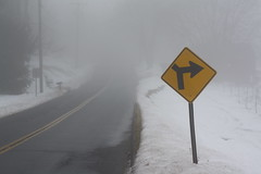 (lizardking837) Tags: road snow nature sign fog woods blind orchard