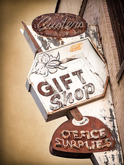 Custer's Gift Shop (Shakes The Clown) Tags: california old orange brown signs texture sepia vintage typography lights office flickr neon illumination rusty retro sangabriel socal gift signage font supplies crusty giftshop smugmug covina 500px canon5dmarkii marcshurphotographycom marcshur wwwmarcshurphotographycom