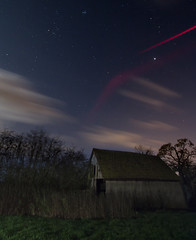 Same Shed, Different Angle, with a cool plane trail (Leigh_at_ch9) Tags: cloud night plane stars photography long exposure shed trail streaks