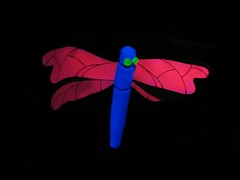 trippy dragonfly (GIALIAT) Tags: pink blue red plants white black green water animal yellow gardens night fun botanical lights concert pond bush magic creative january event blacklight wellington local duckpond asb beegees 2013 gialiat pallion lightshop silverfx