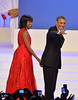 President Barack Obama and First Lady Michelle Obama dance and wave to the crowd during the Presidential Inaugural Ball at the Walter E. Washington Convention Center on January 21, 2013 in Washington, DC. President Obama was sworn in for his second term earlier in the day. Johnny Louis/WENN.com