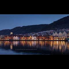 Bergen, Norway (stella-mia) Tags: houses winter light house reflection norway reflections evening norge colorful streetphotography landmark bluehour bergen lightreflection bryggen hordaland eveninglight colorfulhouses winterinbergen annakrmcke krmcke earligmorning