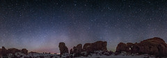 360 view of arches national park with double arch (tmo-photo) Tags: travel sky nature night stars outdoors panoramic moab archesnationalpark meteors milkyway tmophoto